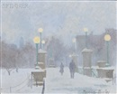 Thomas R. Dunlay, Late Afternoon Snowfall on the Boston Public Gardens