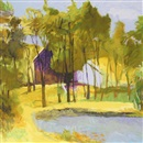 Wolf Kahn, Barn Above Pond