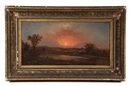 Attributed To Martin Johnson Heade, Sunset over riverside mansion