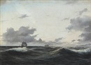 Daniel Hermann Anton Melbye, Seascape with sailing ships on open sea