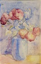 Rosalie Roos Weiner, Still Life of Roses in a Blue Vase