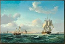 Daniel Hermann Anton Melbye, The sailing ship Johanna and other vessels in Sundet off Kronborg Castle