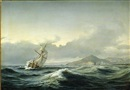 Daniel Hermann Anton Melbye, Seascape with a sailing ship in rough sea. In the background a rocky coast