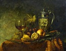 Gyula Andreas Bubárnik, Still life of fruit, wine glass and tankard