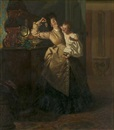 Pieter Willem Sebes, Interior Scene with Mother and Child