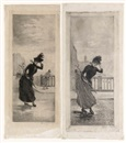 Henri Boutet, Woman Crossing a Bridge * Woman at the Entrance to a Bridge (2 works)