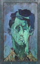 Joseph Solman, Portrait of a Man (Green Face)
