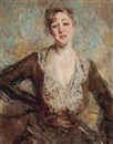 Jacques Emile Blanche, Portrait of a lady, half-length, in a brown dress