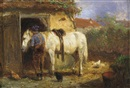 Anton Mauve, A farmer with his horse by a stable