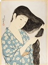 Goyo Hashiguchi, Kami sukeru onna (Woman Combing Hair after the Bath)
