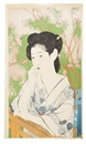 Goyo Hashiguchi, Onsen yado ((Woman at a) Hot Springs Hotel), depicting a woman on balcony