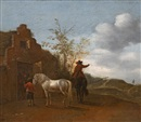 Manner Of Pieter Wouwerman, Horsemen in front of a stable