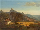 August Fink, Mountain landscape with a farm house and the ruins of a castle
