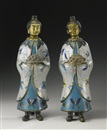 Anonymous-Chinese (Qing Dynasty), A pair of female attendants