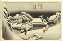 Ando Hiroshige, Yoru no yuki (Snow in the night) in Kambara (from Tokaido Goju-san Tsugi no Uchi, Fifty-three Stations on the Tokaido Highway)in Hoeido Version