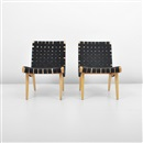 Jens Risom, Webbed lounge chairs (pair)