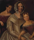 American School (19), Portrait of a woman and two children, three-quarter-length