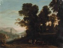 School Of Claude Lorrain, A river landscape with travelers and shephards on a path