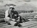 Robert Capa, Hemingway and son Gregory during hunting trip in Sun Valley (3 works)
