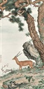 Ma Jin, 鹿(Antelope under the pine tree after Giuseppe Castiglione)