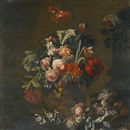 Simon Pietersz Verelst, Still life of roses, variegated tulips, peonies and other flowers in a sculpted vase, together with grapes and a macaw