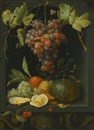 Joris van Son, Still life with grapes, a melon, an orange, plums and oysters in a stone niche
