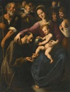 Fabrizio Santafede, The Holy Family with Saint Francis of Assisi adoring the Christ Child, with two youths and angels above