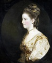 Joshua Reynolds, Portrait of Mrs Thomas Wodehouse, half-length, in a white dress with gold embroidery