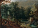 Follower Of Paul Bril, Paysage au moulin animé de cavalier, chasseur et promeneurs