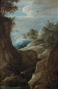 Attributed To David Teniers the Younger, Paysage à la cascade