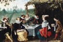 Attributed To Louis de Caullery, Elegant company dining in a garden
