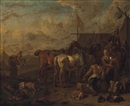 Attributed To Pieter van Bloemen, An encampment with soldiers and horses at rest