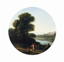 Circle Of Claude Lorrain, A wooded river landscape with figures on a path and others loading a boat with logs, a castle beyond