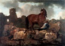 Follower Of Philipp Peter Roos, Berger, cheval et moutons