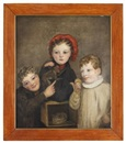 American School (19), Portrait of three children, kitten and monkey