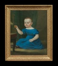 Continental School (19), Portrait of a child in blue, feeding a bird