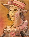 Christo Coetzee, Portrait of a lady wearing a hat