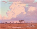 Willem Hermanus Coetzer, Pink clouds over a veld landscape