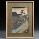 Ando Hiroshige, Upright Tokaido from Fifty-three stations of Tokaido (tate-e)