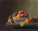 Severin Roesen, Peaches and Grapes in a Basket