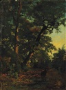 Henri Joseph Harpignies, A Stag in the Woods