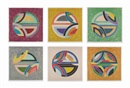 Frank Stella, Sinjerli Variations Squared with Colored Grounds (set of 6)