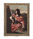 Follower Of Pierre Mignard, Portrait of Louis XIV (1638-1715), three-quarter-length, as a Roman emperor, beside an encampment, a fortified town beyond
