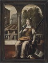 Follower Of Domenico Tintoretto, A female saint seated in a classical courtyard