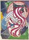 Frank Stella, Stubb & Flask kill a right whale (Dome) (from Moby Dick Domes)