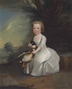 Circle Of Henry Pickering, Portrait of a young girl, full length, in a white dress, holding a mallard, in a wooded landscape