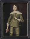 Anglo-Dutch School (17), Portrait of a boy, three-quarter-length, in a green doublet and hose, with lace collar and cuffs, holding a book in his right hand