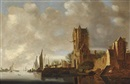 Circle Of Jan Josefsz van Goyen, A river landscape with a view of the Pellecussenpoort near Utrecht