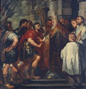 Circle OfSir Anthony van Dyck, Saint Ambrose barring the Emperor Theodosius from the Milan Cathedral, Saint Ambrose barring the Emperor Theodosius from the Milan Cathedral