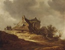 Jan Josefsz van Goyen, A dune landscape with travellers near an inn, a church in the distance, A dune landscape with travellers near an inn, a church in the distance